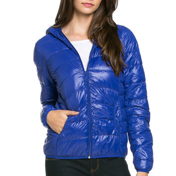 Lightweight Puffer Down Hooded Jacket Blue