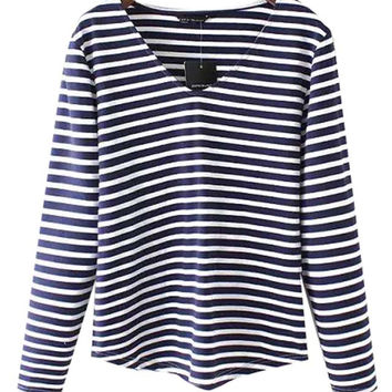 Striped V-neck Long Sleeve T-shirt