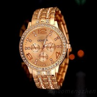 Retro Stylish Fashion Geneva Bling Crystal Luxury Watches Ladies Women Girl Unisex Stainless Steel Quartz Wrist Watch = 1956977860