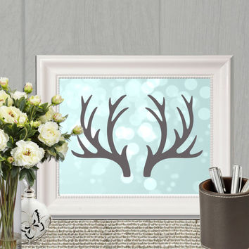 Aqua Antler printable Aqua home decor Blue wall art print Gray Antler silhouette Large Stag antler Woodland animal Christmas card DOWNLOAD