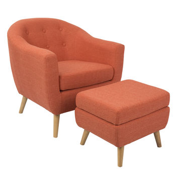 Rockwell Mid-Century Modern Chair With Ottoman Included in Orange by LumiSource