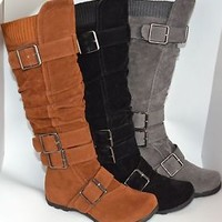 Womens Boots Knee High Ruched Faux Suede W/ Buckles Black or Gray