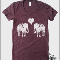 Elephants in Love American Apparel tee tshirt shirt Heathered vintage style screenprint ladies scoop top