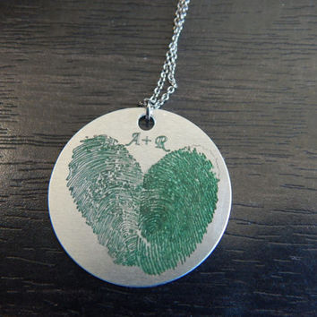Dark Green Personalized Custom Engraved Fingerprint Heart Pendant Necklace, Great Birthday Gift, Holiday Gift, Memorial Tribute