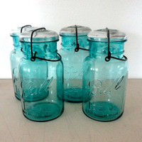Blue Ball Glass Mason Jar Aqua Canning Jar with Clear Glass Lid Wire Closure