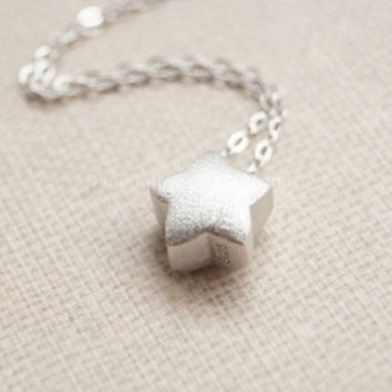 Necklace-925 Sterling Silver little star necklace,simple brushed silver necklace