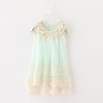 Girls Retro lace Dress 2017 Summer Girl Fashion Lace sleeveless Tulle Party Wedding Dresses Kids pearl Dress For toddler,2-6Y