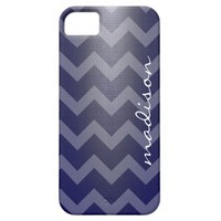 Modern phone, white chevron zigzag on navy, w name iPhone 5 cases