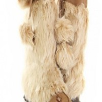 Taupe Faux Suede Fur Pop Pop Mid Cuff Boots