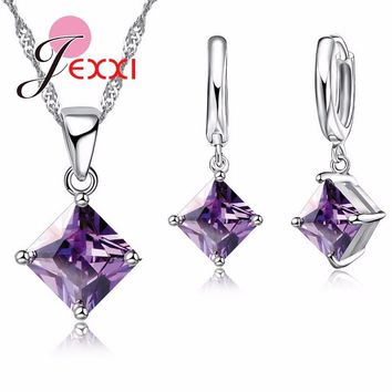 Jemmin Luxury Amethyst Woman Bridal Wedding Jewelry Sets Fine 925 Sterling Silver Pendants Necklace Earrings Set For Engagement