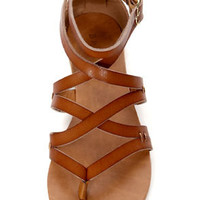 Bamboo Laguna 25 Chestnut Tan Strappy Gladiator Sandals