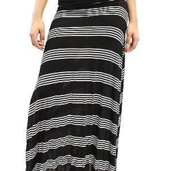 New Comfy Ruched Stretch Maxi Long White Striped Black Skirt Size S MOA0126