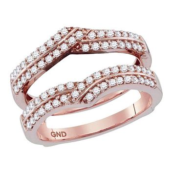 14kt Rose Gold Women's Round Diamond Ring Guard Wrap Solitaire Enhancer 1/2 Cttw - FREE Shipping (US/CAN)