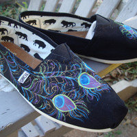 peacock feathers hand painted on TOMS shoes-made to order