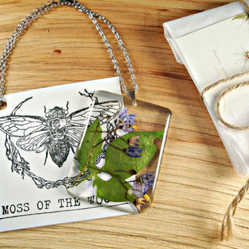 Woody Nightshade (Solanum dulcamara) Botanical Jewelry, Herbarium Pendant, Poison Herbal Necklace, Floral Wildflower Jewelry