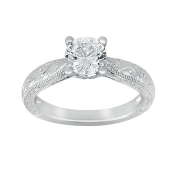 Cherish Always Round-Cut Diamond Solitaire Engagement Ring in 14k White Gold (7/8 ct. T.W.)