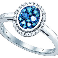 Blue Diamond Fashion Ring in 10k White Gold 0.4 ctw