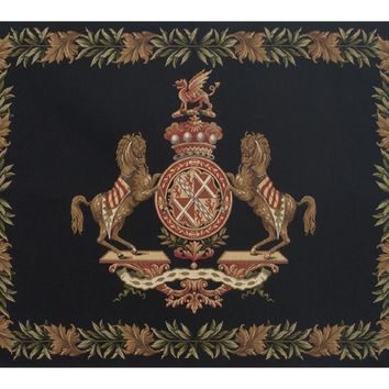 Horse Crest Black European Tapestry