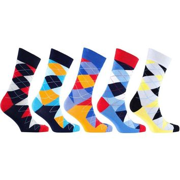 Men's 5-Pair Colorful Argyle Socks