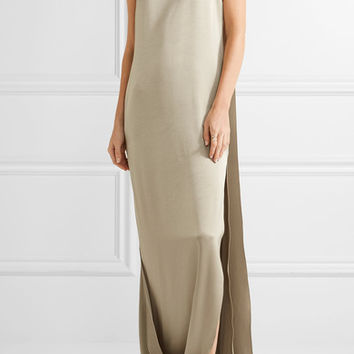 Halston Heritage - Cape-effect satin and crepe gown