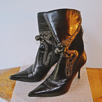 Black Casadei Leather And Suede Boots, Calf High Boots, Vintage Fashion