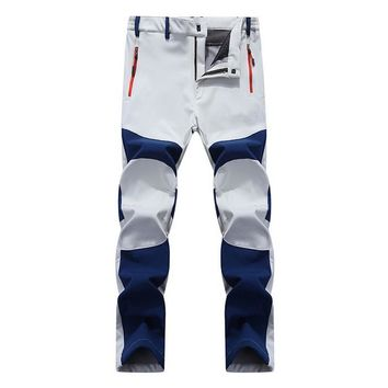 Men's Winter Casual Pants Men Fleece Lining Sweatpants Breathable Warm Men's Trousers Off White Zipper Pants