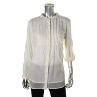Style & Co. Womens Crinkled Pleated Button-Down Top