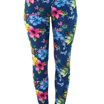 Blue Colorful Floral Flower Tropical Leggings Print- Yoga Leggings - Yoga Tights - Workout Leggings - Art Leggings - Running Leggings