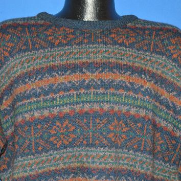 80s LL Bean Snowflakes Scottish Wool Sweater Large