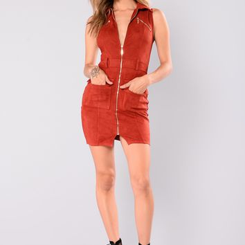 Campbell Suede Dress - Rust