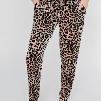 Suede Leopard Joggers