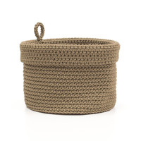 Mode Crochet 8X8 Basket W/Loop, Tan