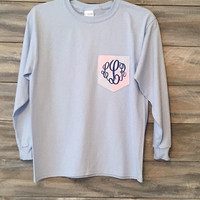Seersucker Monogram Pocket Tee shirt * free shipping * adult and youth