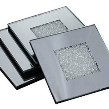 Mirrored Coaster Set Made With Swarovski Crystals