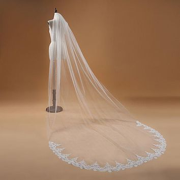 White Ivory Cathedral long wedding veils Lace Edge Bridal Veil with Comb Wedding Accessories Bride mantilla wedding veil