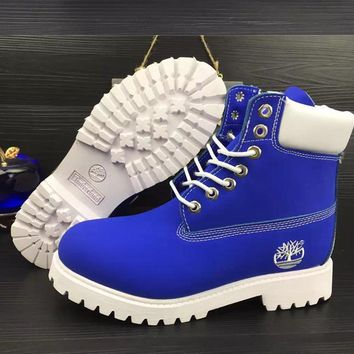 Timberland Rhubarb Boots Trending Men Women High Help Shoes Waterproof Martin Boots Lovers Boots Blue White I