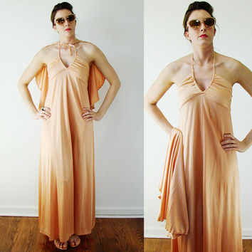 Vintage 1960s PEACH Halter MAXI Dress Grecian Athena & CAPE Small