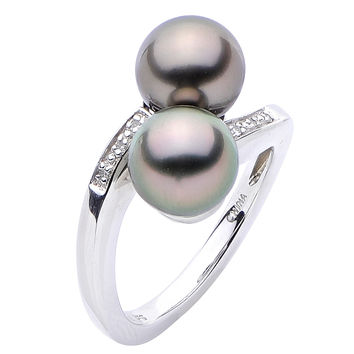 Tahitian Pearl Bypass Ring in Sterling Silver & Diamond