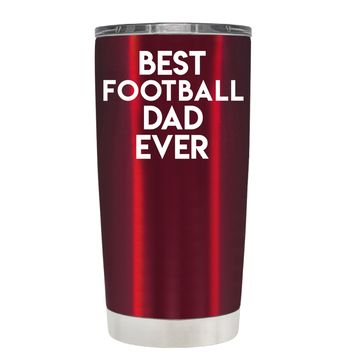 TREK Best Football Dad Ever on Translucent Red 20 oz Tumbler Cup