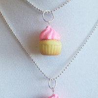 BFF Cupcake necklace set-Scented-Miniature food jewelry