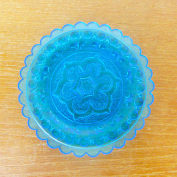 Small vibrant aqua blue pressed glass collectible dish