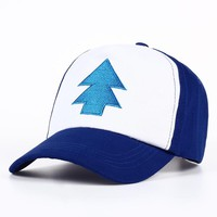 Trendy Winter Jacket 2017 New Cotton tree embroidery Gravity Falls U.S Cartoon Mabel Dipper Pines Cosplay Cool Baseball Caps Adjustable Sport Hat AT_92_12