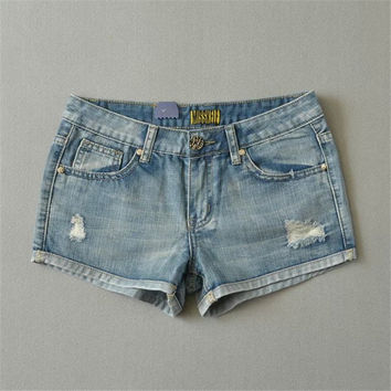 Korean Summer Women's Fashion Stylish Rinsed Denim Ripped Holes Denim Pants Shorts [6034229825]