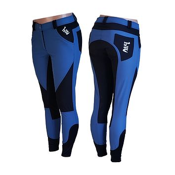 hhW Lightweight Silicone Grip Equestrian Riding Pants Royal Blue with Black aka MAGIC BREECHES