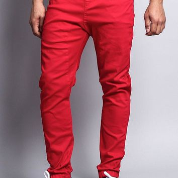 Men's Jogger Twill Pants (Red)