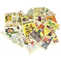 Yueton 32 Pcs 1 Set Vintage Retro Old Europe Dancing Travel Advertising Album Postcard Greeting Post Cards for Collecting