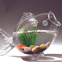 Fish Shaped Fish Bowl Glass Vase, 14-inch, Medium
