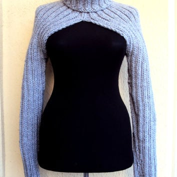 Knit Shrug Sweater Turtleneck Long Sleeve Bolero Scarf Cowl Women Man Moto Biker Sweater  Made to Order FREE SHIPMENT