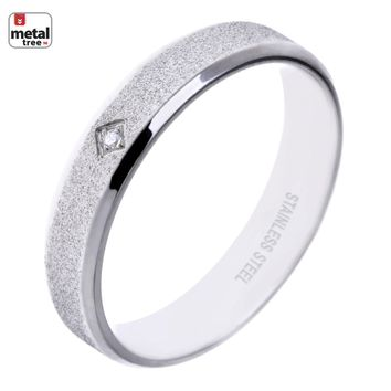 Jewelry Kay style NEW Men's Women's 5MM Stainless Steel Wedding Band Frosted Classic DIAMOND Ring