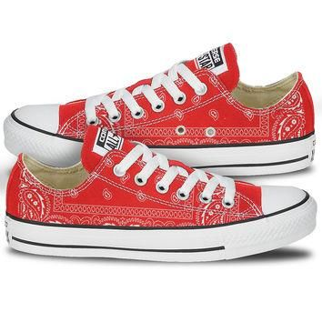 Red Bandana Converse Sneakers